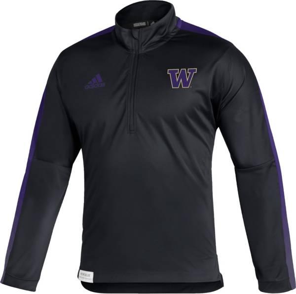 adidas Men's Washington Huskies Black Locker Room Quarter-Zip Pullover Shirt product image