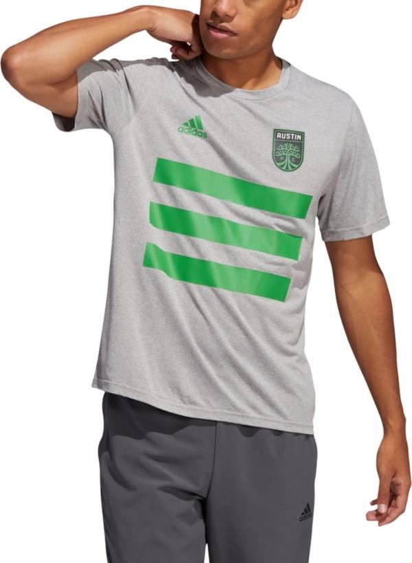 adidas Men's Atlanta United 3-Stripe Heather Grey T-Shirt product image