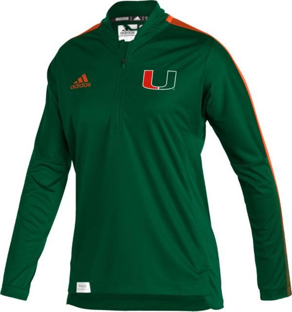 adidas Women's Miami Hurricanes Green Locker Room Quarter-Zip Pullover Shirt product image