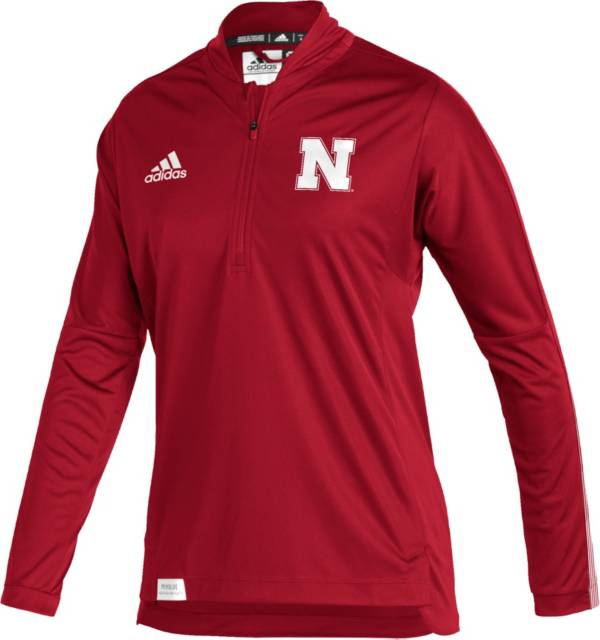 adidas Women's Nebraska Cornhuskers Scarlet Locker Room Quarter-Zip Pullover Shirt product image