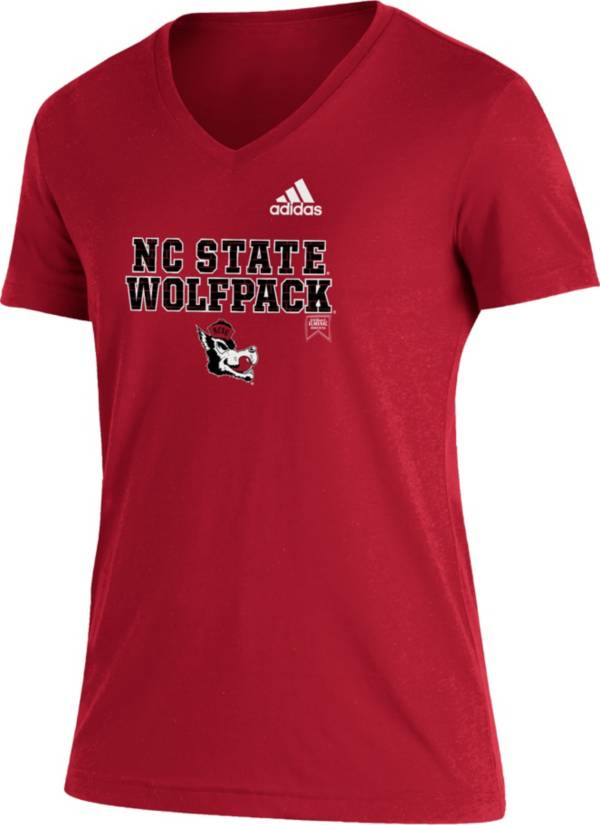 adidas Women's NC State Wolfpack Red Reverse Retro Locker Room V-Neck T-Shirt product image