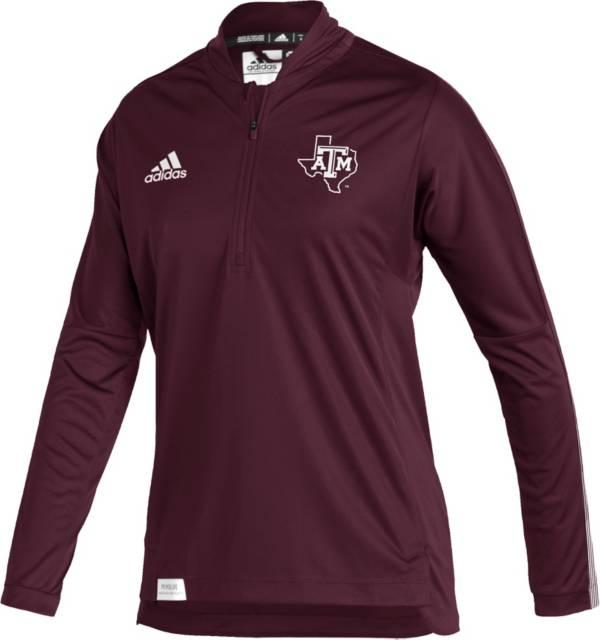 adidas Women's Texas A&M Aggies Maroon Locker Room Quarter-Zip Pullover Shirt product image