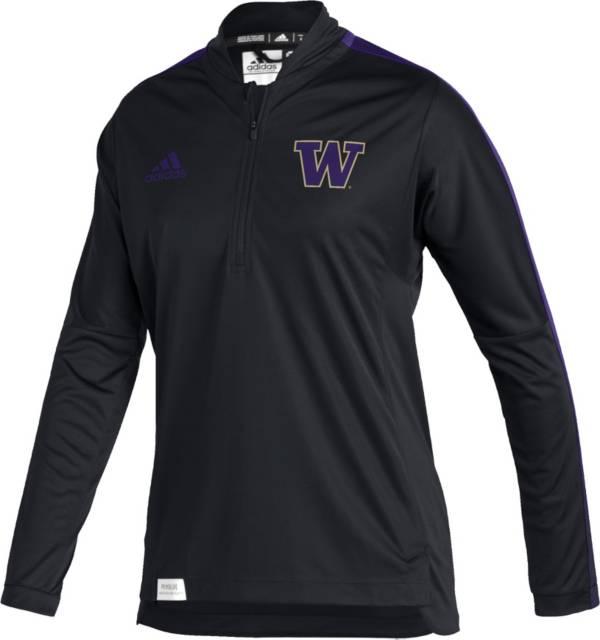 adidas Women's Washington Huskies Black Locker Room Quarter-Zip Pullover Shirt product image