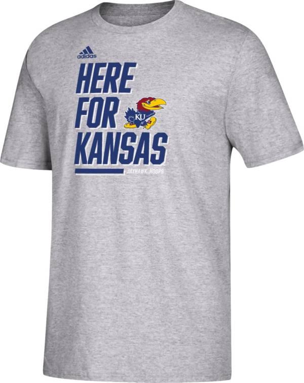 adidas Youth Kansas Jayhawks 'Here For' Bench T-Shirt product image