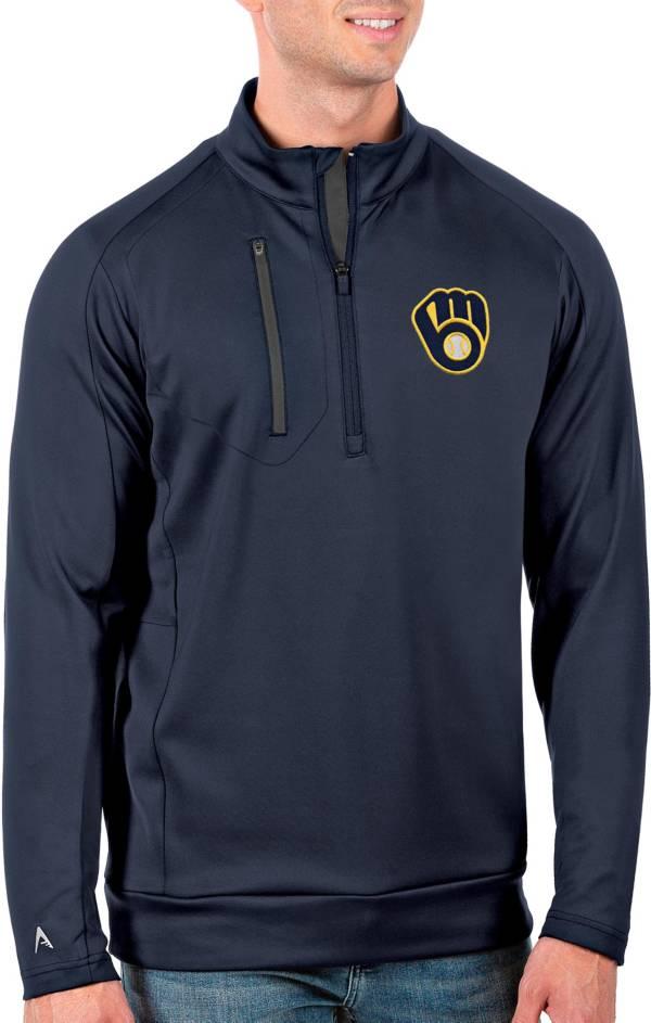 Antigua Men's Tall Milwaukee Brewers Generation Navy Half-Zip Shirt product image
