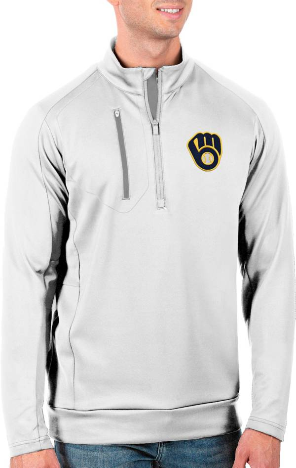 Antigua Men's Tall Milwaukee Brewers Generation White Half-Zip Pullover product image