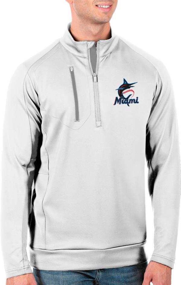 Antigua Men's Tall Miami Marlins Generation White Half-Zip Pullover product image