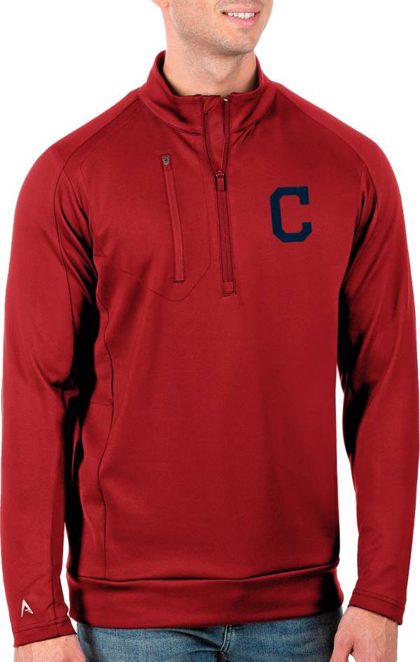 Antigua Men's Tall Cleveland Indians Generation Red Half-Zip Pullover product image