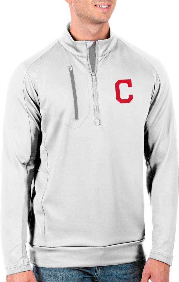 Antigua Men's Tall Cleveland Indians Generation White Half-Zip Pullover product image