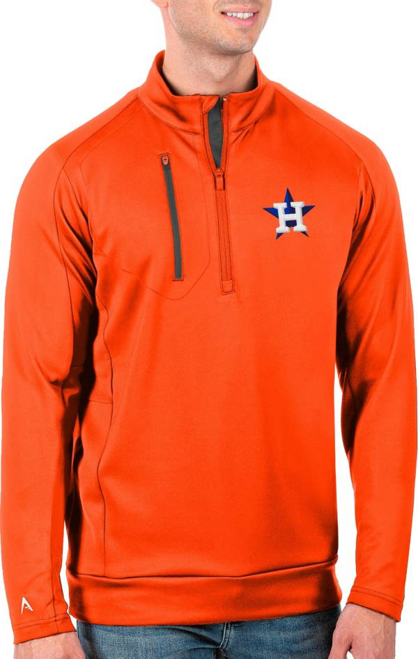 Antigua Men's Tall Houston Astros Generation Mango Half-Zip Pullover product image