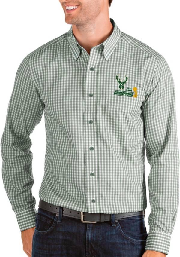 Antigua Men's 2021 NBA Champions Milwaukee Bucks Green Structure Button Down Long Sleeve Shirt product image