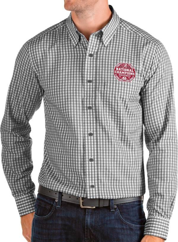 Antigua Men's 2020 National Champions Alabama Crimson Tide Black Structure Button Down Long Sleeve Shirt product image