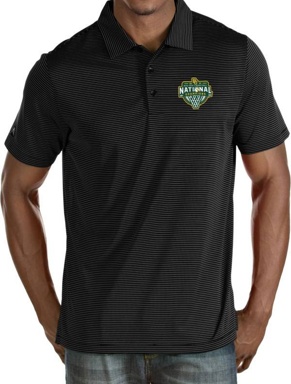 Antigua Men's Baylor Bears 2021 Men's Basketball National Champions Black Quest Performance Polo product image