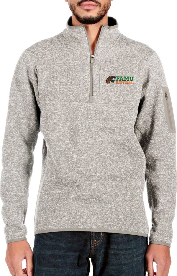 Antigua Men's Florida A&M Rattlers White Fortune Quarter-Zip Pullover Shirt product image