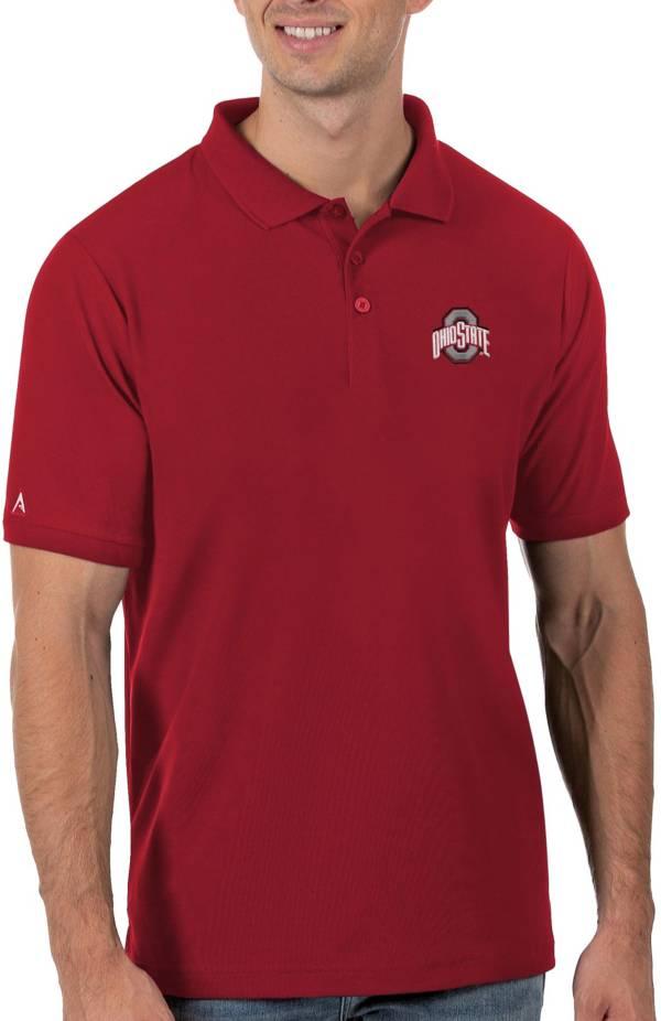 Antigua Men's Ohio State Buckeyes Scarlet Legacy Pique Polo product image