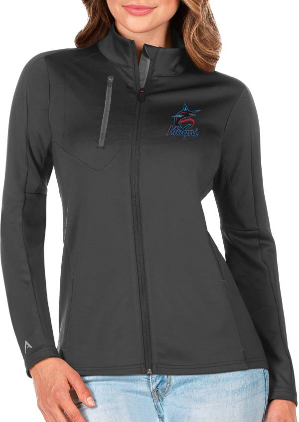 Antigua Women's Miami Marlins Generation Full-Zip Gray Jacket product image