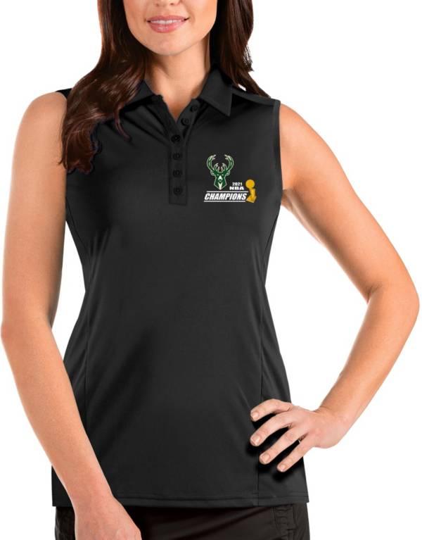 Antigua Women's 2021 NBA Champions Milwaukee Bucks Tribute Black Sleeveless Polo product image