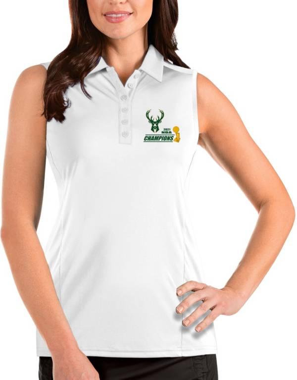 Antigua Women's 2021 NBA Champions Milwaukee Bucks Tribute White Sleeveless Polo product image