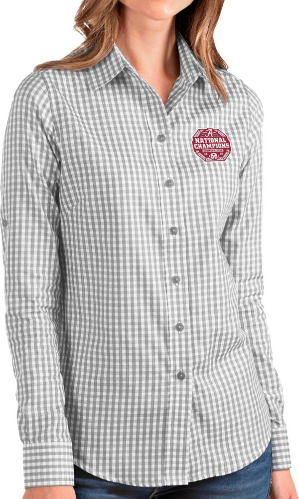 Antigua Women's 2020 National Champions Alabama Crimson Tide Grey Structure Button Down Long Sleeve Shirt product image