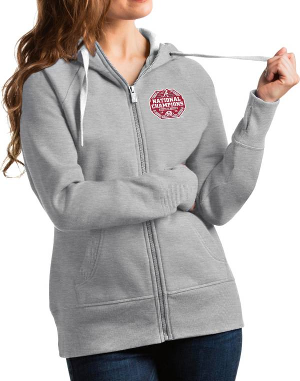 Antigua Women's 2020 National Champions Alabama Crimson Tide Grey Victory Full-Zip Hoodie product image