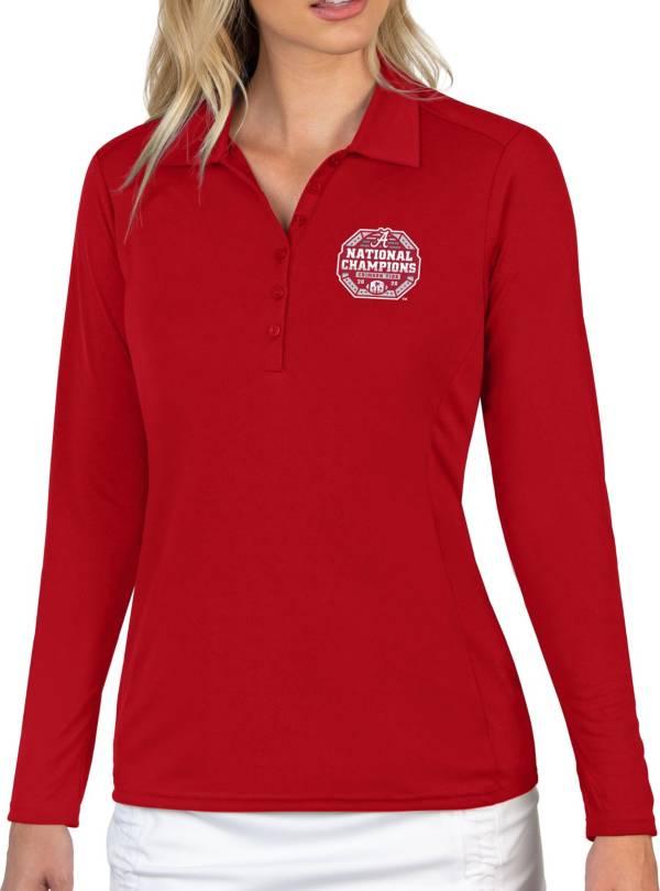 Antigua Women's 2020 National Champions Alabama Crimson Tide Crimson Tribute Long Sleeve Performance Polo product image