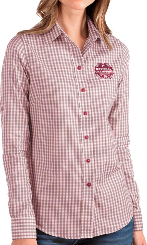 Antigua Women's 2020 National Champions Alabama Crimson Tide Crimson Structure Button Down Long Sleeve Shirt product image
