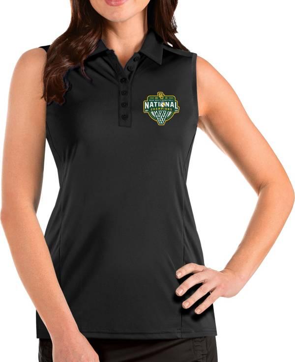 Antigua Women's Baylor Bears 2021 Men's Basketball National Champions Tribute Sleeveless Polo product image