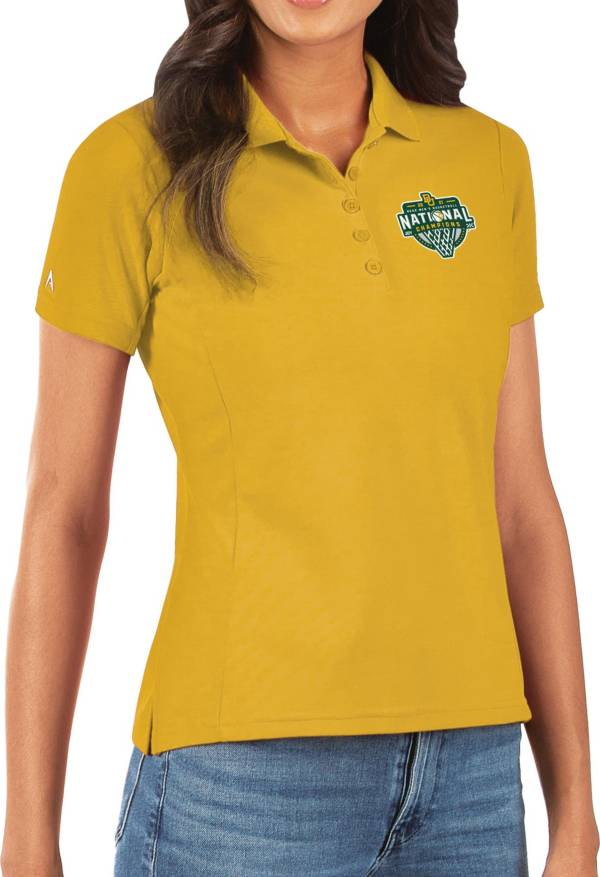 Antigua Women's Baylor Bears 2021 Men's Basketball National Champions Gold Legacy Pique Polo product image