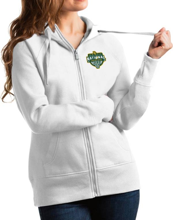 Antigua Women's Baylor Bears 2021 Men's Basketball National Champions White Victory Full-Zip Hoodie product image