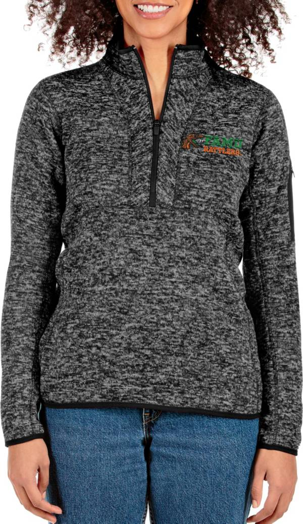 Antigua Women's Florida A&M Rattlers Black Fortune Quarter-Zip Pullover Shirt product image