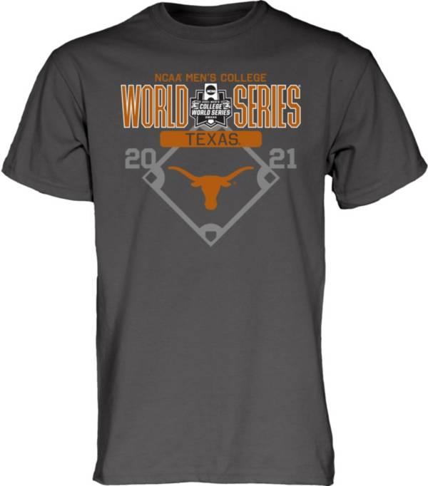 Blue 84 Men's Texas Longhorns Grey 2021 Men's College World Series Footwork T-Shirt product image