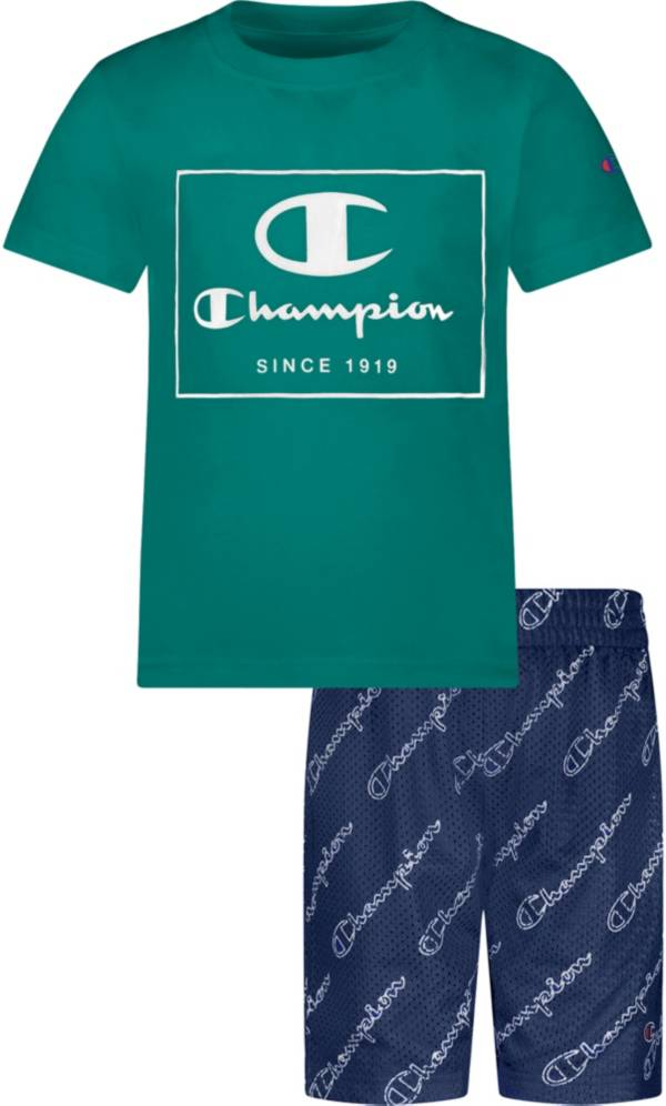 Champion Little Boys' All Over Print Script T-Shirt and Mesh Shorts Set product image
