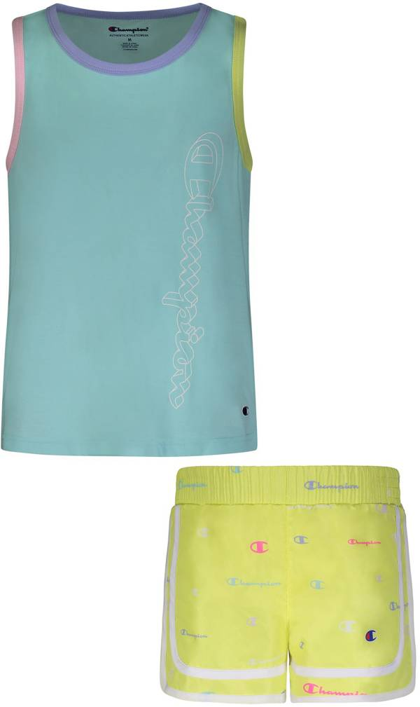 Champion Little Girls' Colorblock Tank Top and Woven Shorts Set product image