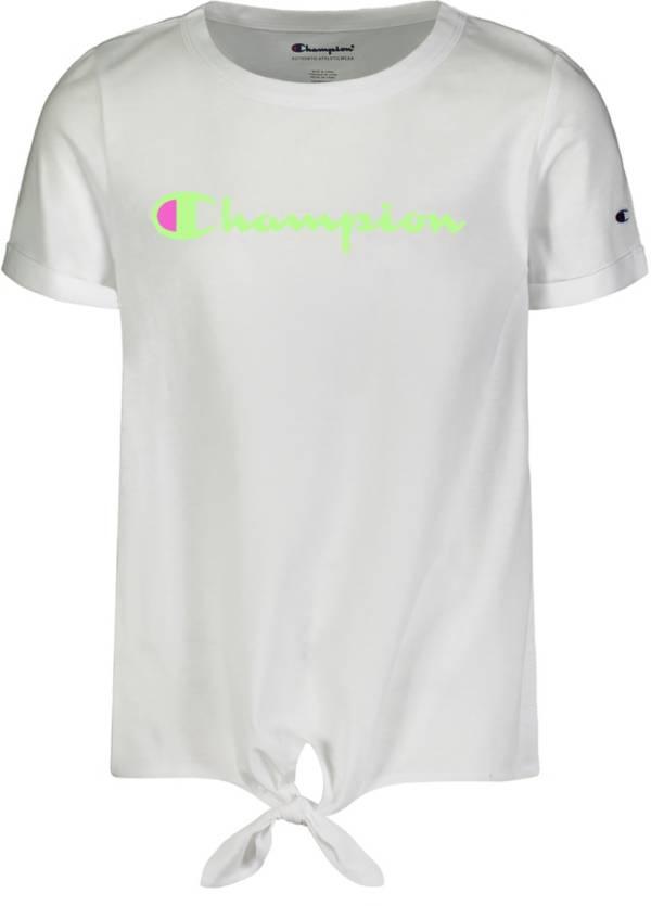 Champion Little Girls' Classic Script Tie Front T-Shirt product image