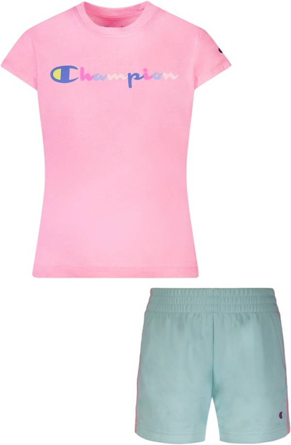 Champion Little Girls' Watercolor T-Shirt and Mesh Shorts Set product image