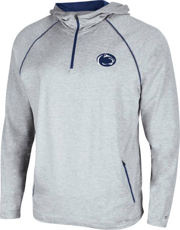 Colosseum Men's Penn State Nittany Lions Grey Timeline Quarter-Zip Pullover Hoodie product image