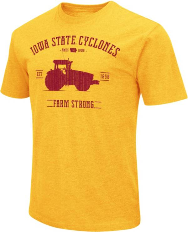 Colosseum Men's Iowa State Cyclones Gold 'Farm Strong' Dual Blend T-Shirt product image