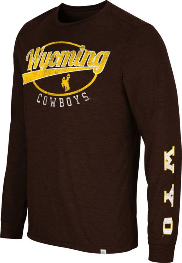 Colosseum Men's Wyoming Cowboys Brown Far Out! Long Sleeve T-Shirt product image