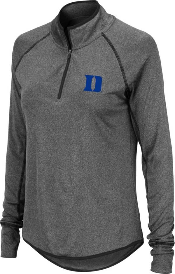 Colosseum Women's Duke Blue Devils Grey Stingray Quarter-Zip Pullover Shirt product image