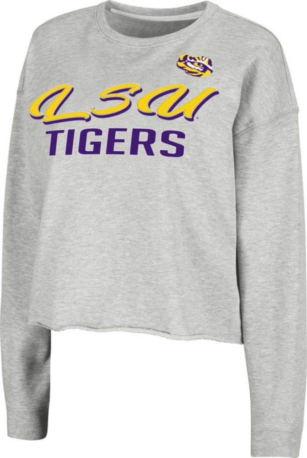 Colosseum Women's LSU Tigers Grey Treehouse Cropped Pullover Hoodie product image