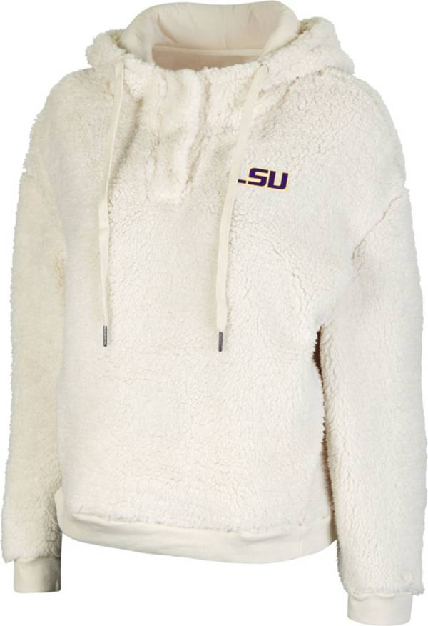 Colosseum Women's LSU Tigers White Snap! Sherpa Henley Pullover Hoodie product image