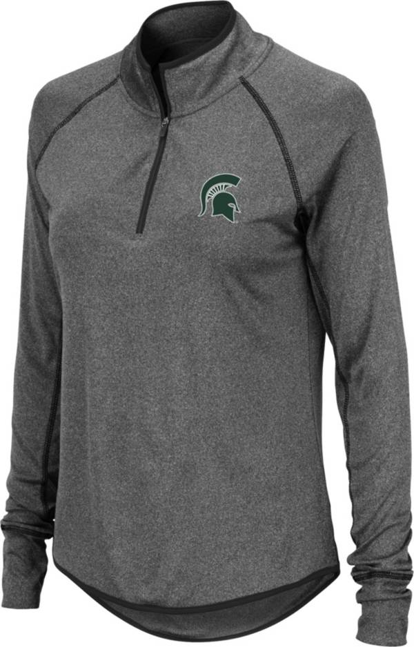 Colosseum Women's Michigan State Spartans Grey Stingray Quarter-Zip Pullover Shirt product image