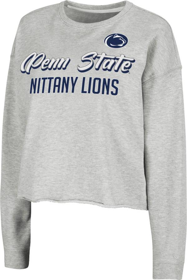 Colosseum Women's Penn State Nittany Lions Grey Treehouse Cropped Pullover Hoodie product image