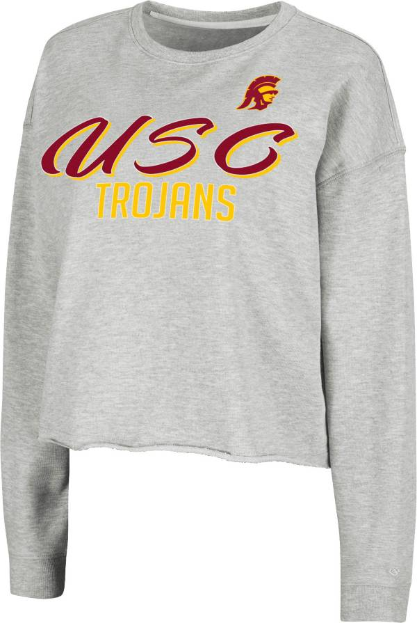 Colosseum Women's USC Trojans Grey Treehouse Cropped Pullover Hoodie product image