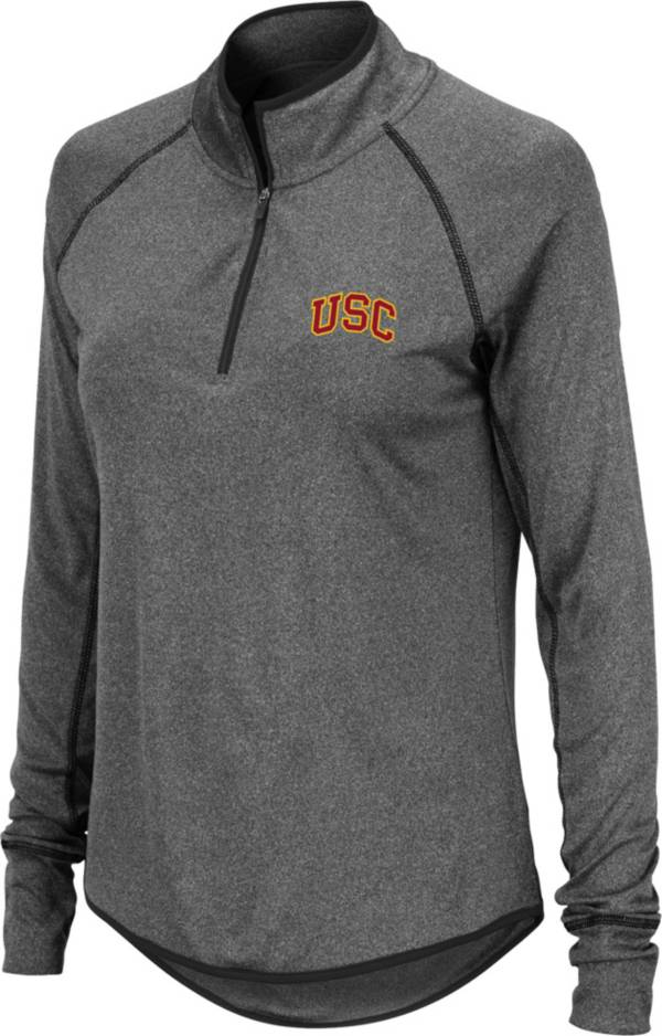 Colosseum Women's USC Trojans Grey Stingray Quarter-Zip Pullover Shirt product image
