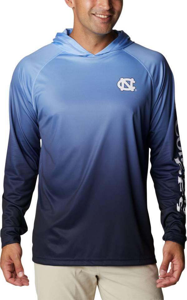 Columbia Men's North Carolina Tar Heels White PFG Super Terminal Tackle Long Sleeve Hooded T-Shirt product image