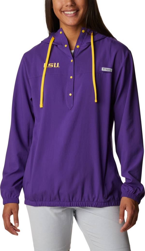Columbia Women's LSU Tigers Purple PFG Tamiami Quarter-Snap Long Sleeve Hooded Shirt product image
