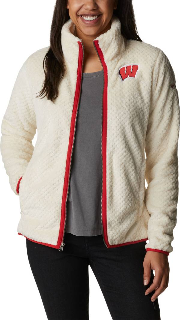 Columbia Women's Wisconsin Badgers White Fire Side Sherpa Full-Zip Jacket product image