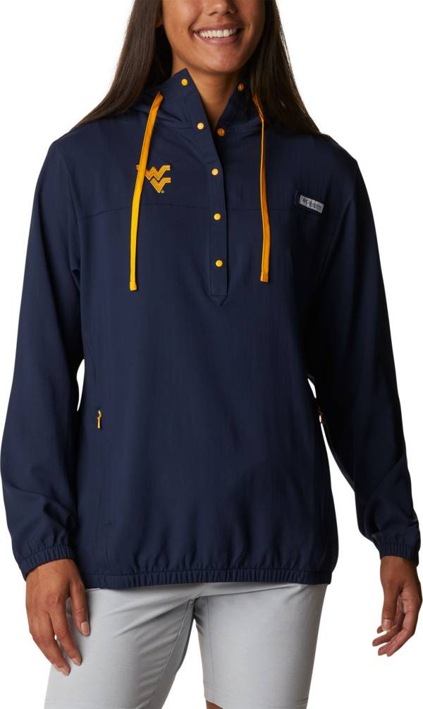 Columbia Women's West Virginia Mountaineers Blue PFG Tamiami Quarter-Snap Long Sleeve Hooded Shirt product image