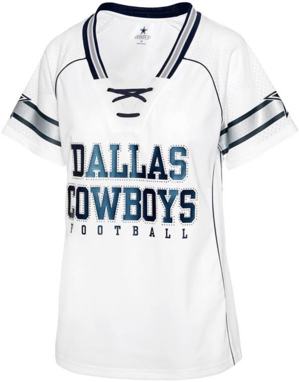 Dallas Cowboys Women's Dallas Cowboys White Lace-Up V-Neck Jersey product image